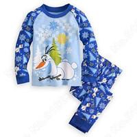 pajama - Olaf New Style Cartoon Boy Pajama sets Children Olaf blue Cotton Pyjamas Long Sleeve Pants Suits C001