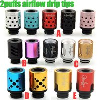 drip tips - 2puffs types drip tips holes airflow control huge vaporizer puffs assembling Mouthpiece dripper tip for RDA tank e cig cigarette
