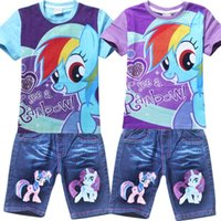 Cheap summer kids clothing sets my little pony boys clothing set t shirt + demin jeans girls clothes 2 colors