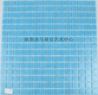 Wholesale Matt crystal glass mosaic swimming pool mosaic bathroom wall and floor tiles factory direct blue