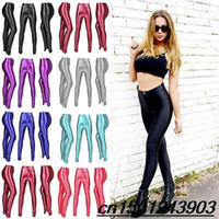 Cheap New spring 2014 Solid candy Neon leggings for women High waist Stretched punk legging pants fitness clothing leggins plug size