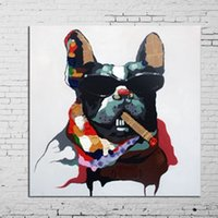 art work oil paintings - Modern Abstract Handpainted Painting Dog Animal Decorative Paintings Pure Hand painted Oil Picture Pop Art Works For Home Decorations