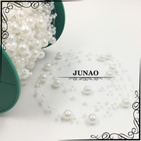 Wholesale 3 mm Round Pearl String Spool By Roll Pearls Beads Trim Ribbon Chain for Wedding Garland Craft Decoration Meter