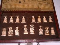 Wholesale Chinese Qing Dynasty Army Style Statues Pieces Chess Set Leather Wood Box