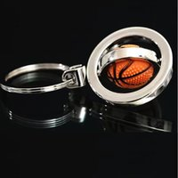 Cheap TOP-5PCS lot 3D Sports Rotating Basketball Keychain Keyring Key Chain Ring Key Fob Ball 1 PC