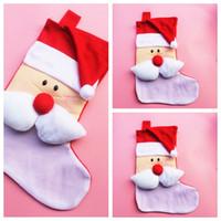 Wholesale Sock Wholesal - Wholesal Christmas Gift Candy Socks Christmas Tree Decoration Santa Lovely Sockings Large Decals Gift Bags Socks 50pcs lot