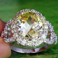 yellow topaz ring - Hot Sale Yellow Oval Cut Morganite White Topaz Gems K Rings for Women Wedding Party Wear Platinum Plated Ring Size Prom Ring