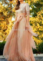Cheap Champagne Chiffon Sparkling Sequined Half Sleeve 2015 New Arrival Kaftan Dubai Abaya Muslim Prom Dresses Long Evening Gown