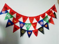 Wholesale Kids birthday Spiderman batman superman pennant flag banner superman flag superhero banner kids birthday party decoration