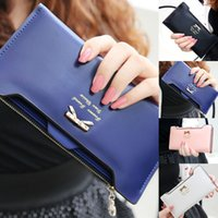 Wholesale Lovely Korean Style Fashion Lady Women Wallet PU Leather Long Wallets Portable Change Purse Delicate Casual Lady Cash Purse