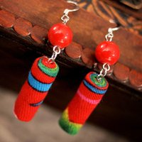 artwork tube - A Handmade Artwork Chinese wind traditional fabric dangle earrings red New Original Ethnic jewelry statement tube earrings