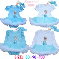 Wholesale 2014 Frozen New Baby Girls Romer With Headbands Kids Clothing Lace Ruffles One Piece Long Short Sleeve Bodysuit Childs Elsa Anna Suit H1788