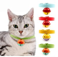 Wholesale New Fashion Multi colors High Quality PU Leather Puppy Bell Collar Durable Cat Collar With Bell Length Adjustable