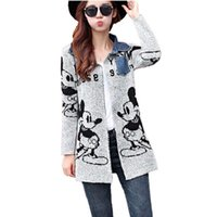 Wholesale New arrival gray lovely cartoon mouse print fashion thick round collar long cardigan women sweaters dress winter clothing