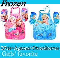 Wholesale Frozen Elsa Anna Printe Kids Childrens Cartoon Cooking Art Painting Smock Apron Set Sleeveless Aprons Oversleeves Factory sales DHL