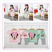 Cheap DHL Free shipping 100% cotton Hot baby girl strip minnie mouse clothes set Children's clothing summer girls T-shirt +stripe culottes suit143