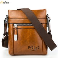 Wholesale Awen Newest Arrival Burglarproof Buckle Oil Waxy Leather Men Messenger Bags Famous Brand Sacoche Homme Fashion Casual Man Bag