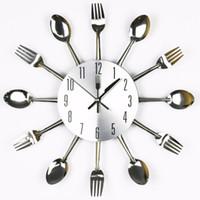Cheap Free Shipping Modern Design Sliver Cutlery Kitchen Utensil Mute Wall Clock Spoon Fork Knife Clock Mute Sweep Quartz Movement