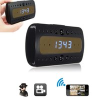 Wholesale HD P WiFi Spy Camera Alarm Clock Motion Detect IR DVR For Android iPhone Controled By Phone