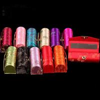 lip balm tube - 8 cm Unique Empty Lipstick Box with Mirror Lip balm Containers Lipstick Case Holder Silk Metal clasp Chapstick Tubes mix color
