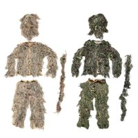Wholesale Woodland Camouflage Ghillie Suit amp Bag for Hunting War Games CS Game Role Playing Outdoor Wood Hike Travel Wear Dress