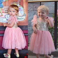 baby girl dressess - 2015 Sequined Tulle Flower Girls Dressess Baby Girls Cute Square Tea Length Pageant Gowns Little Kids Formal Gowns First Communion Dresses