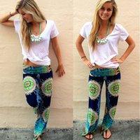 Cheap 2015 summer women pants Casual High Waist Flare Wide Leg Long Pants Palazzo Trousers Plus Size floral classic exuma pant preppy