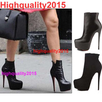 stiletto - Hot Sale Victoria Beckham style women sexy red sole cm high heel mid calf boots ladies platform single OL boots big size