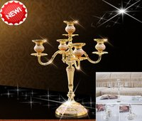 Wholesale 1Pcs Beauty European Candle Holders Metal Pillar Candelabra Wedding Gift Centerpiece Chic Decor Gold wedding or home decor use it