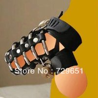 Halloween Adult Games H0304 Retail Stainless steel Cocking Penis Ring leather Product Supply testicles ring sex products Free shipping
