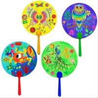 Wholesale Hot Secret Garden small wihte blank fan Children s painting painting paper fan Coloring paper fan without paint
