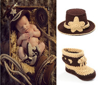 baby boy cowboy boots - Crochet Baby Cowboy Hat and Boots Set in Brown Newborn Boy Photo Props Handmade Knitted Baby Hat and Booties