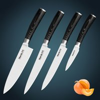 kitchen knives set - High quality Japan AUS stainless steel kitchen knife set with black mikartar handle