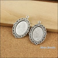 antique silver picture frames - 20 Vintage Charms Oval picture frame Pendant Antique silver Fit Bracelets Necklace DIY Metal Jewelry Making B076 jewelry making DIY