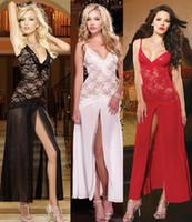 plus size lingerie - plus size sexy lace gauze transparent long Braces dress T pants Lingerie sets See Through nightwear White black Condole Belt Skirt underwear