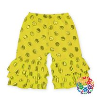 Shorts beautiful trouser - TOP children girl spring summer beautiful cropped trouser Multi Color gold stamp dot shorts kids girl falbala pants colors