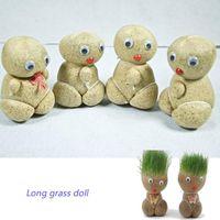 Wholesale Grass Head Doll Planters Pots Grass doll grass doll watering can pot plants doll with long hair