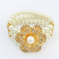 Wholesale Clear Gem Crystal Rhinestone Bracelets Bangles Round Acrylic Pearl Multilayer Beads Party Bridal Stretch Bracelets For Women