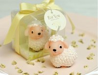 Cheap lots 10pieces cute sheep shape candle + gift box ribbon birthday baby shower gift party decoration wedding favor