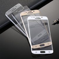 Wholesale For SAMSUNG S6 Edge curve GOLD WHITE BLACK Full cover camber Premium Tempered Glass Film HD Screen Protector
