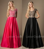 Wholesale 2015 Black Fuchsia Long A line Modest Prom Evening Dresses Sleeves Lace Satin Floor Length Simple Party Dresses Modest HFPD1