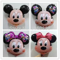 Wholesale big mickey and minnie mouse head balloons for birthday party decoration mylar helium foil ballons