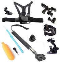 Wholesale 6 in SJCAM Accessories Bundle Kit Set For Go Pro Hero Action Camera Selfie Stick Chest Head Strap Suction Cup Float Grip