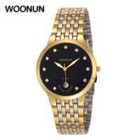 analog mens clothing - Luxury Gold Watch Men Woonun Top Brand Stainless Steel Quartz Watch Fashion Clothes Thin Mens Wrist Watches