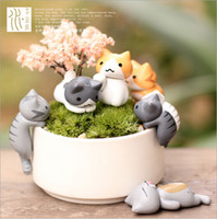 Wholesale 12pcs artificial cat cute animals fairy garden miniature gnome moss terrarium decor resin crafts bonsai home decor for DIY Zakka
