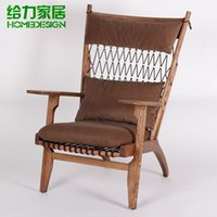 Wholesale High grade leisure rope chair boss chair fashion ikea chaise longue pure manual completely solid wood sofa chair