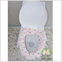 Cheap Pink lace thick pad potty toilet set toilet seat cover rural toilet potty toilet mat wholesale