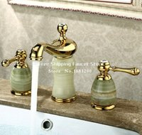 bathtub marbles - New Luxury Marble Brass basin mixer faucet Copper gold Dual handle bathroom sink taps Bathtub shower set BF