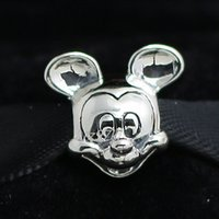 Wholesale 2015 New Spring Sterling Silver Mickey Charm Bead Fits European Pandora Jewelry Bracelets Necklaces Pendants