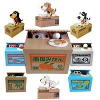 Wholesale 2015 Cartoon Automated Panda Baboon Pig Dog Itazura Cat Steal Piggy Coin Bank Saving Money Box Coin Bank Kids Gift MC